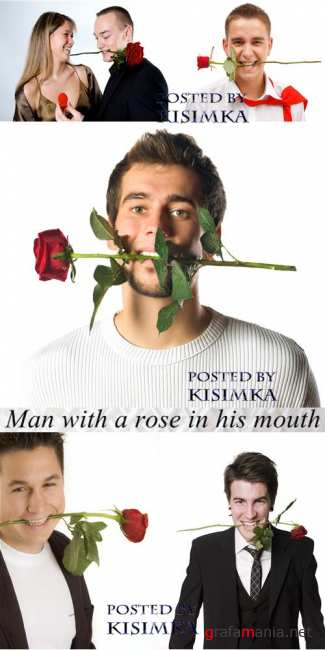 Парень с розой во рту  Stock Photo: Man with a rose in his mouth
