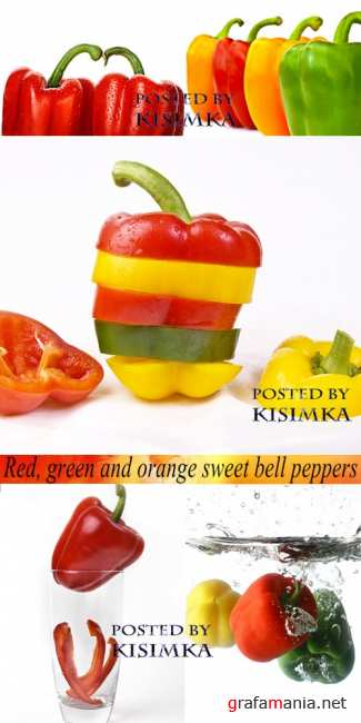 �������, ������� � ������ ������� �����  Stock Photo: Red, green and orange sweet bell peppers