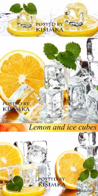����� � ������ ����  Stock Photo: Lemon and ice cubes