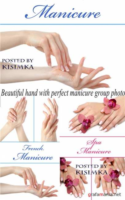 Красивый маникюр  Stock Photo: Beautiful hand with perfect manicure group photo