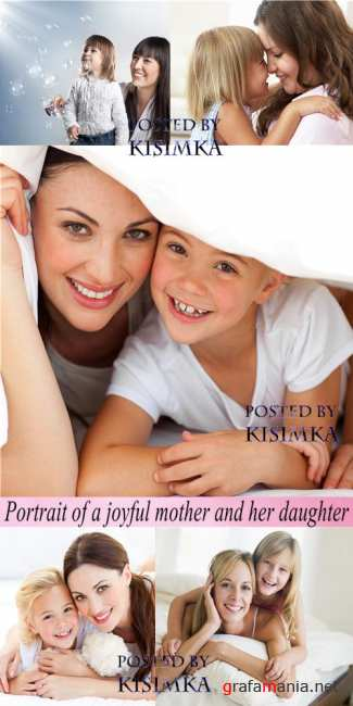 ���������� ���� � ����  Stock Photo: Portrait of a joyful mother and her daughter