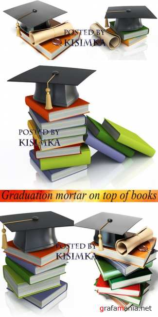 Окончание учебы  Stock Photo: Graduation mortar on top of books