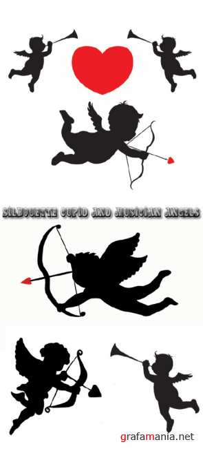 Stock: Silhouette cupid and musician angels