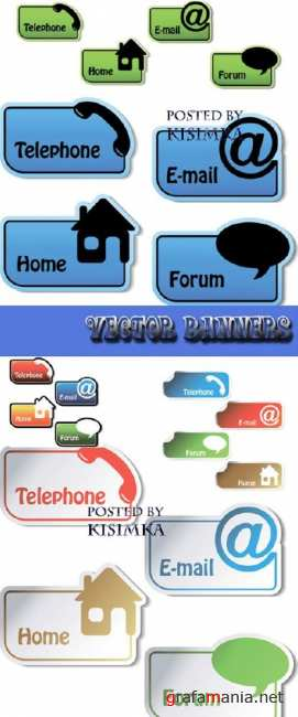 Векторные баннеры для вашего интернета  Stock: Vector banners - telephone, email, home, forum