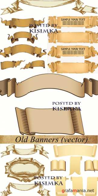 ������ ������ � �������  Stock: Old Banners (vector)