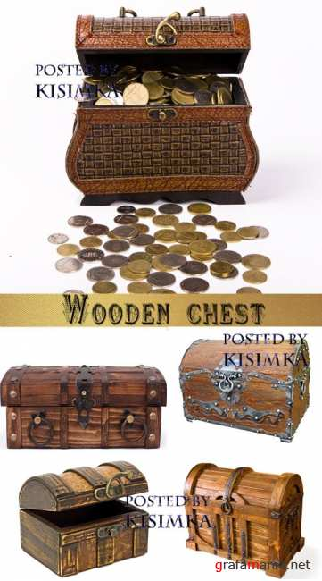 Старый сундук  Stock Photo: Wooden chest on white background