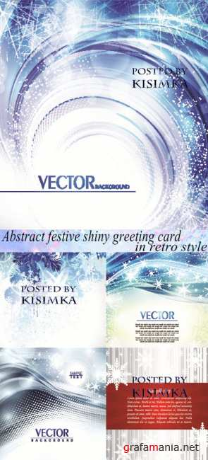 Зимний фон  Stock: Abstract festive shiny greeting card in retro style