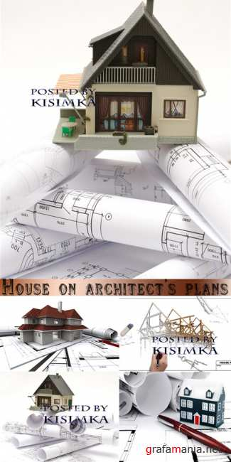 ��� � �������  Stock Photo: House on architect's plans