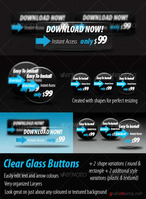 Clear Glass Resizable Buttons