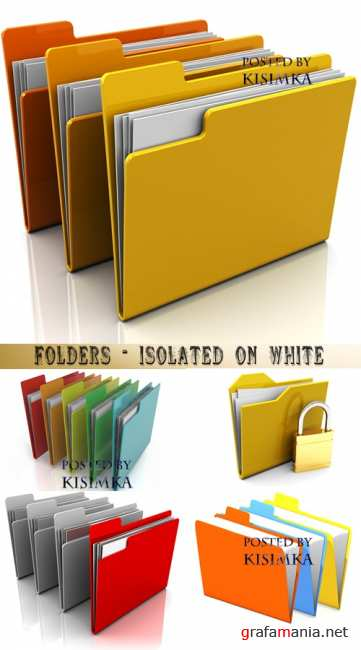 Папки  Stock Photo: Folders - isolated on white