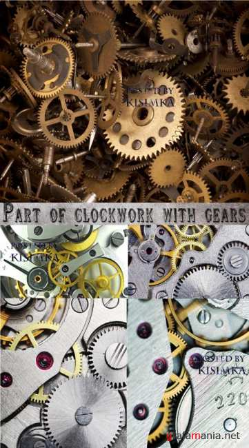 Часовой механизм  Stock Photo: Part of clockwork with gears