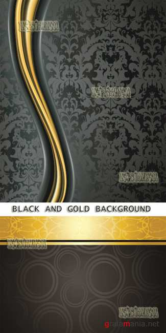 Черный с золотом фон  Stock: Elegant black and gold background 4