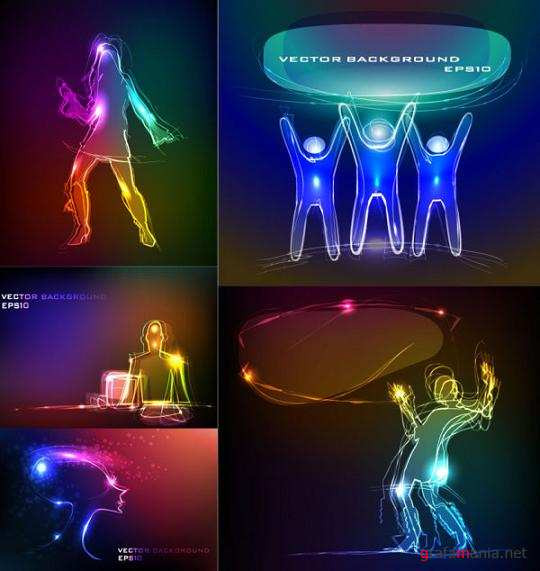 Neon Silhouettes of People Vector