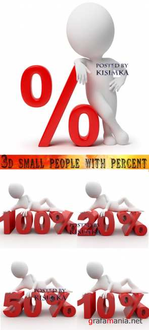 Stock Photo: 3d small people with percent