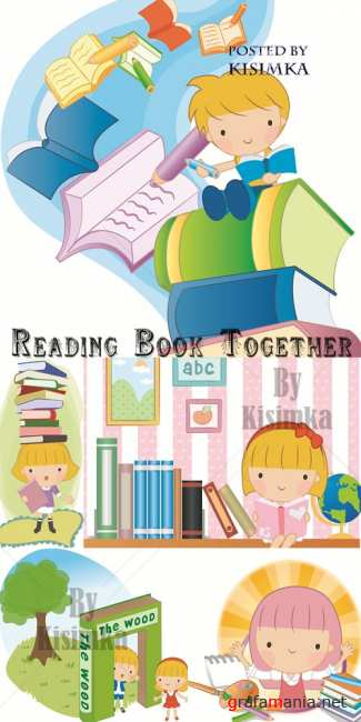 ������ ������  Stock: Reading Book Together vector