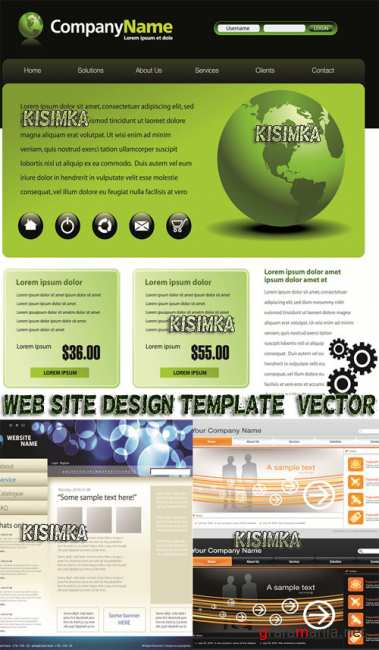 Шаблон сайта  Stock: Web site design template, vector