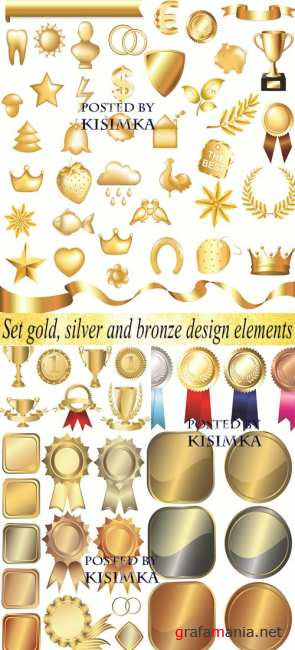 Металлические элементы  Stock: Set gold, silver and bronze design elements