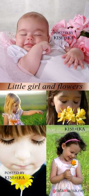 �������- ������� � �������  Stock Photo: Little girl and flowers