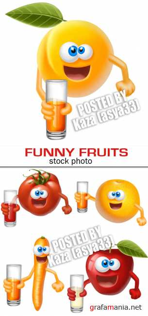 Funny fruits with juice