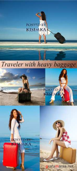 �������: ������� � ������� �������  Stock Photo: Traveler with heavy baggage