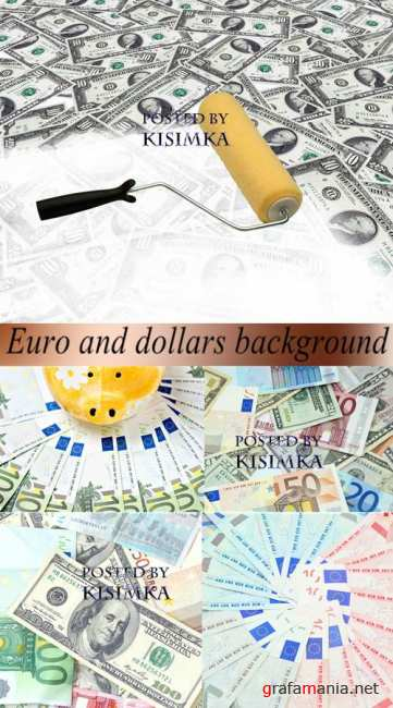 �����������: ���� � ������  Stock Photo: Euro and dollars background