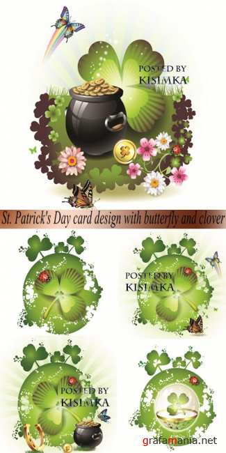 Открытки ко дню святого Патрика  Vector: St. Patrick's Day card design with butterfly and clover