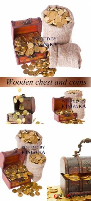 Stock Photo: Wooden chest and coins