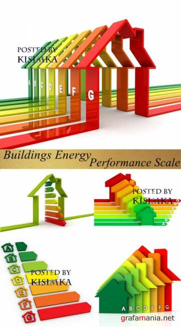 Stock Photo: Buildings Energy Performance Scale