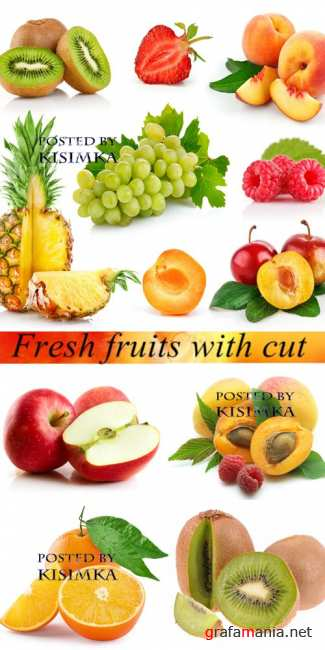 Stock Photo: Fresh fruits with cut