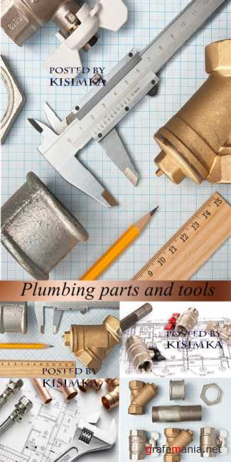 Stock Photo: Plumbing parts and tools