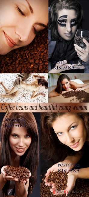 Stock Photo: Coffee beans and beautiful young woman