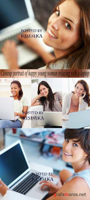 Stock Photo: Closeup portrait of happy young woman relaxing with a laptop