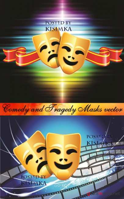Stock: Comedy and Tragedy Masks vector