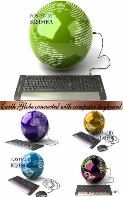 Stock Photo: Earth Globe connected with computer keyboard