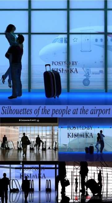 Stock Photo: Silhouettes of the people at the airport
