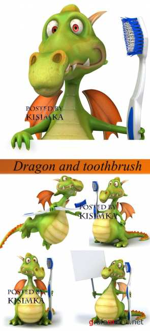 Stock Photo: Dragon and toothbrush