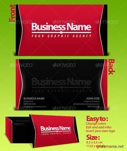 Black  Red Business Card Template - GraphicRiver
