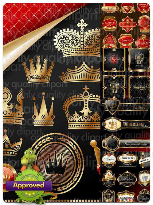 Golden Crown and Labels - Vector Stock