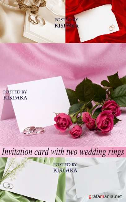 Stock Photo: 5 Invitation card with two wedding rings