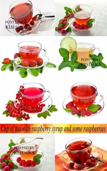 Stock Photo: Cup of tea with raspberry syrup and some raspberries