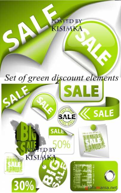 Stock: Set of green discount elements. Vector
