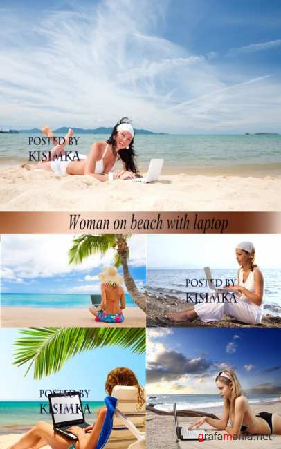 Stock Photo: Woman on beach with laptop