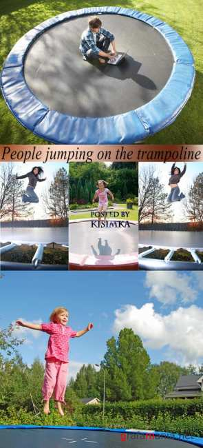 Stock Photo: People jumping on the trampoline