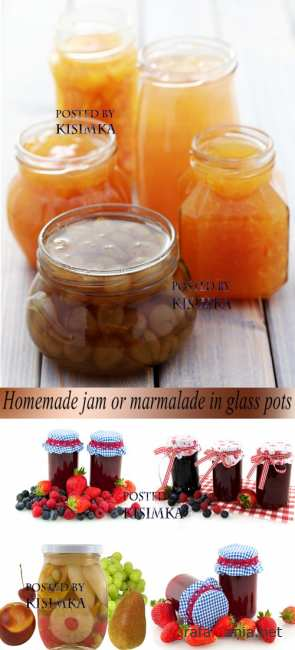 Stock Photo: Homemade jam or marmalade in glass pots