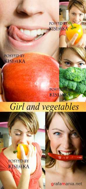 Stock Photo: Girl and vegetables
