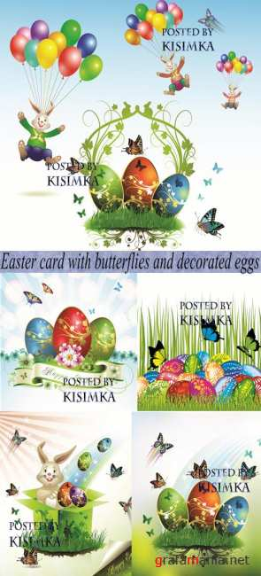 Stock: Easter card with butterflies and decorated eggs on grass