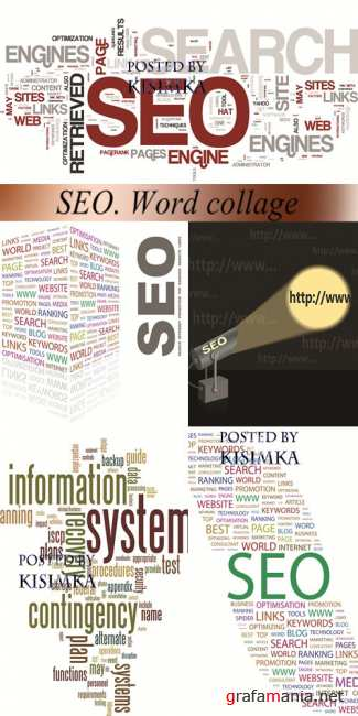 Stock: SEO. Word collage on white background