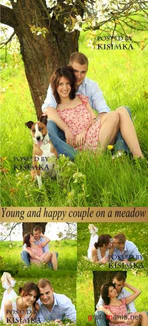 Stock Photo: Young and happy couple  on a meadow