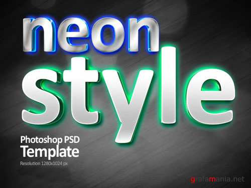PSD Template - Neon light text style