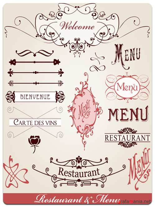 Vector Set of Elements of the Menu for Restaurant